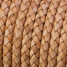 Rzemień naturalny pleciony cappucino 6mm
