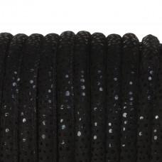 Rzemień szyty zamszowy cętkowany czarny 6mm