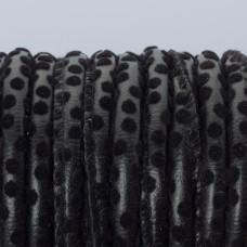 Rzemień szyty czarne kropeczki 6mm