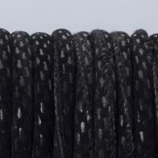 Rzemień szyty czarne prostokąty 6mm