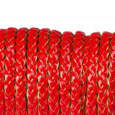 Rzemień warkocz golden red 7x2,5mm