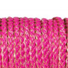 Rzemień warkocz golden pink 7x2,5mm
