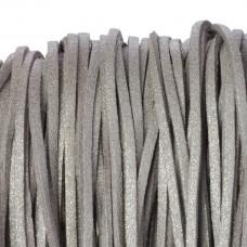 Rzemień zamszowy płaski metaliczny srebrny 2,5x1mm