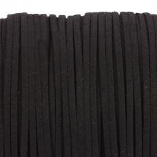 Rzemień zamszowy płaski czarny 1x2,5mm