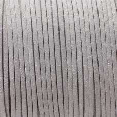 Rzemień zamszowy płaski srebrny z brokatem 1x2.5mm