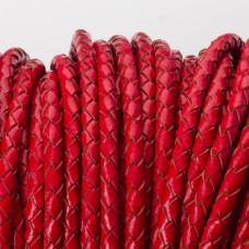 Rzemień naturalny pleciony lakierowany 4mm czerwony