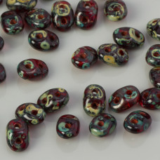 SuperDuo 2,5x5mm Siam Ruby - Picasso (T90080)