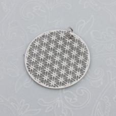 Zawieszka okrągła geometryczna siateczka stal chirurgiczna z kółeczkiem 25mm