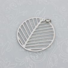Zawieszka okrągła wycinana liść stal chirurgiczna z kółeczkiem  25mm