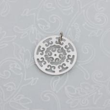 Zawieszka okrągła mandala cieme srebro z kółeczkiem 16mm