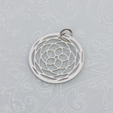 Zawieszka okrągła rozeta róża stal chirurgiczna z kółeczkiem  20mm
