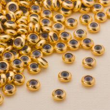 Zapięcie stoper z silikonem ze stali chirurgicznej 6x3mm złoty