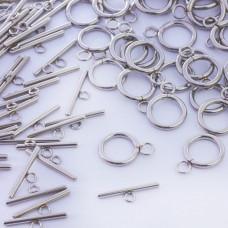 Zapięcie toggle kółko i patyczek ze stali chirurgicznej srebrny 14mm