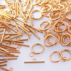 Zapięcie toggle kółko i patyczek ze stali chirurgicznej złoty 14mm