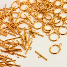 Zapięcie toggle kółko i patyczek ze stali chirurgicznej złote 16mm