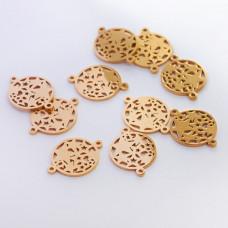 Łącznik ze stali chirurgicznej  gwiazdki w kółku złoty 20mm