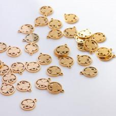 Zawieszka ze stali chirurgicznej koniczynka w kółku złoty 10,3mm