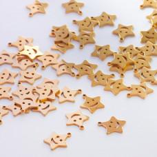 Zawieszka ze stali chirurgicznej gwiazdka z uśmiechem złoty 10,3mm