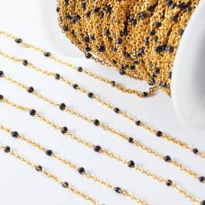 Łańcuch ze stali chirurgicznej z czarnymi oczkami złoty 2mm