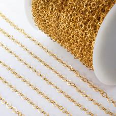 Łańcuch ze stali chirurgicznej kółka błyszczące złoty 3,8mm