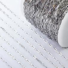 Łańcuch ze stali chirurgicznej owale błyszczące srebrny 3x6,5mm
