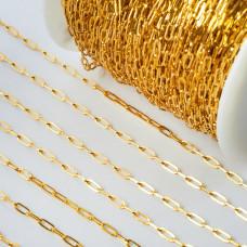 Łańcuch ze stali chirurgicznej owale błyszczące złoty 1,5x2mm