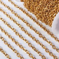 Łańcuch ze stali chirurgicznej  owal fasetowany 10x7,5mm