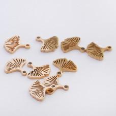 Mini zawieszka ze stali chirurgicznej liść miłorzębu 7mm złota