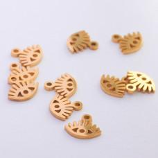 Mini zawieszka ze stali chirurgicznej oczko 6mm złota