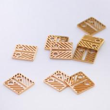 Mini zawieszka ze stali chirurgicznej celebrytka kwadrat ażurowy 8,4mm złota