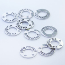 Mini zawieszka ze stali chirurgicznej celebrytka kółko wycinane 9,8mm srebrna