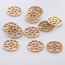 Mini zawieszka ze stali chirurgicznej kółko ażurowe 10mm złota