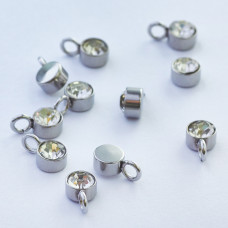 Mini zawieszka ze stali chirurgicznej z białą cyrkonią 4mm srebrna