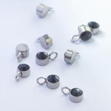 Mini zawieszka ze stali chirurgicznej z czarną cyrkonią 4mm srebrna