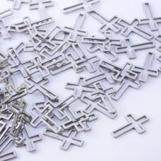 Baza geometryczna ze stali chirurgicznej krzyż 16x10,5mm srebrny