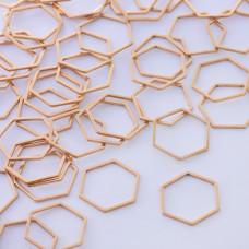 Baza geometryczna ze stali chirurgicznej heksagon 18mm złoty