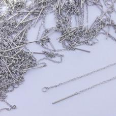 Baza do kolczyków z łańcuszka ze stali chirurgicznej srebrny 10,5cm