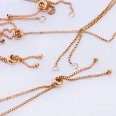 Baza bransoletki z łańcuszka  z silikonowym stoperem ze stali chirurgicznej złoty dł. regulowana