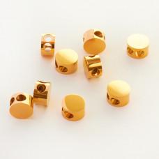 Koralik ze stali chirurgicznej przekładka z dwoma dziurkami złoty 8mm