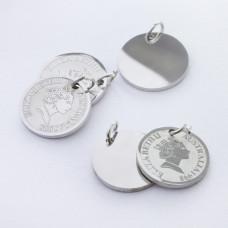 Zawieszka ze stali chirurgicznej moneta kolor srebrny 12mm