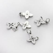 Mini zawieszka ze stali chirurgicznej kwiatek wycięty 8mm