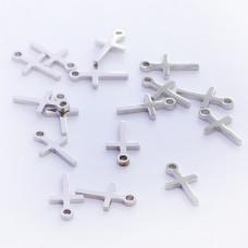 Zawieszka ze stali chirurgicznej krzyż prosty srebrny 11,1mm