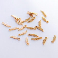 Zawieszka ze stali chirurgicznej piórko złoty 11,5mm