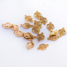 Łącznik  ze stali chirurgicznej miś w kółku złoty 11,8mm