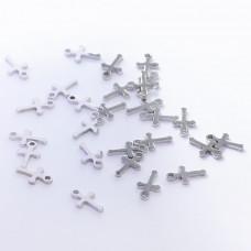 Zawieszka ze stali chirurgicznej krzyż srebrny 10mm