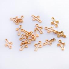Zawieszka ze stali chirurgicznej krzyż wycięty złoty 10,6mm