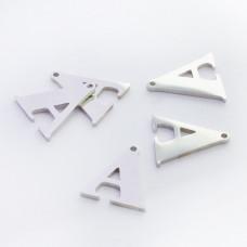 Zawieszka ze stali szlachetnej literka A srebrna 13,9mm