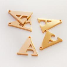 Zawieszka ze stali szlachetnej literka A złota 17mm