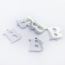Zawieszka ze stali szlachetnej literka B srebrna 13,6mm