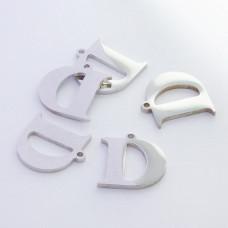 Zawieszka ze stali szlachetnej literka D srebrna 12,6mm